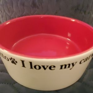 🎄 3/$30 Large Red I ❤ My Cat Stoneware Cat Dish